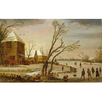 A Frozen River with Skaters