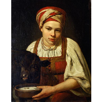 A Peasant Girl with a Calf