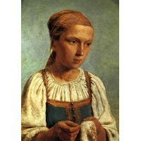 A Peasant Girl with  Embroidery