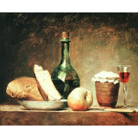 Still Life with Round Bottle