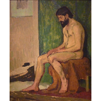 Seated bearded man