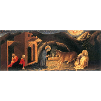 Adoration of the Magi Altarpiece, left hand predella panel depicting the Nativity