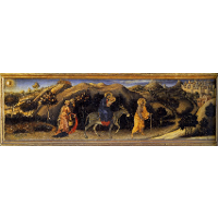 Adoration of the Magi Altarpiece, left hand predella panel depicting Rest during The Flight into Egypt