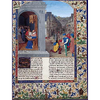 Boccaccio's De Casibus writing. A courier delivering Luvrs to Mainardo dei Cavalcanti Boccaccio
