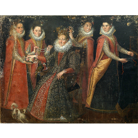 Portrait of Five Women with a Dog and a Parrot