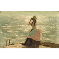 Girl Seated on a Pier