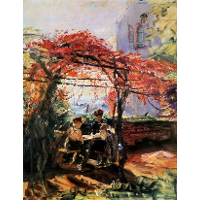Artist's children in garden