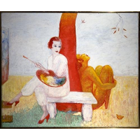 Self-Portrait with Palette (Painter and Faun)