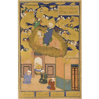 The Mi'raj, or, The Night Flight of Muhammad on his Steed Buraq- Folio from a Bustan of Sa'di