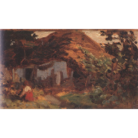 Farm-yard with Girl in Red Skirt