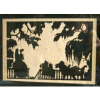 "At the Verandah. Silhouette, ink on paper. Signed with Russian initials ""CC"", with full signature und numbered 31 on the margin"