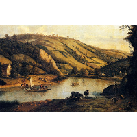 An Extensive River landscape, Probably Derbyshire, With Drovers And Their Cattle In The Foreground