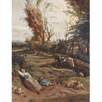 Pasture with two sleeping Shepherdesses