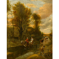 A Horse-Drawn Cart with Two Women Travelling down a Flooded Road at the Edge of a Wood