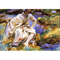 A Man Seated by a Stream