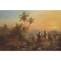 Javanese Landscape, with Tigers Listening to the Sound of a Travelling Group