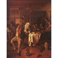 Inn with Violinist & Card Players