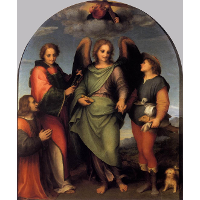 Archangel Raphael with Tobias, St. Lawrence and the Donor Leonardo di Lorenzo Morelli