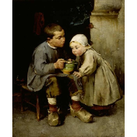 A Boy Feeding his Younger Sister