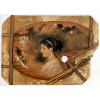 Portrait of a woman on a pallet