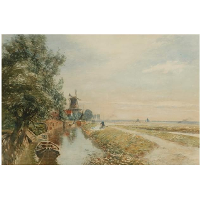 Canal scene with windmil