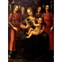 Madonna with child and four angels
