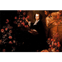 Self-portrait with flowers
