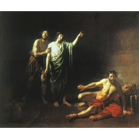 Joseph interpreting dreams to butler and baker, concluded with him in prison