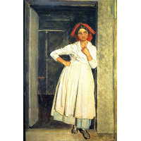 A girl from Albano standing in the doorway